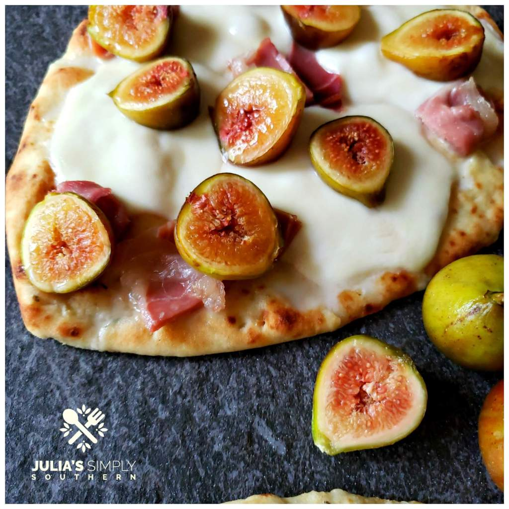 Naan flatbread pizza with fresh figs, prosciutto and mozzarella cheese. This easy recipe bakes in just a few minutes and can be made in the oven or on the grill.