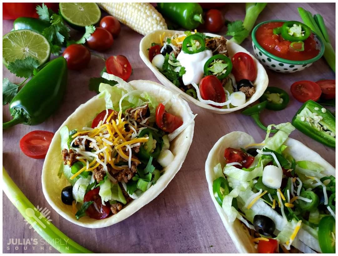 Best beef tacos recipe - Taco boats in flour tortilla bowls