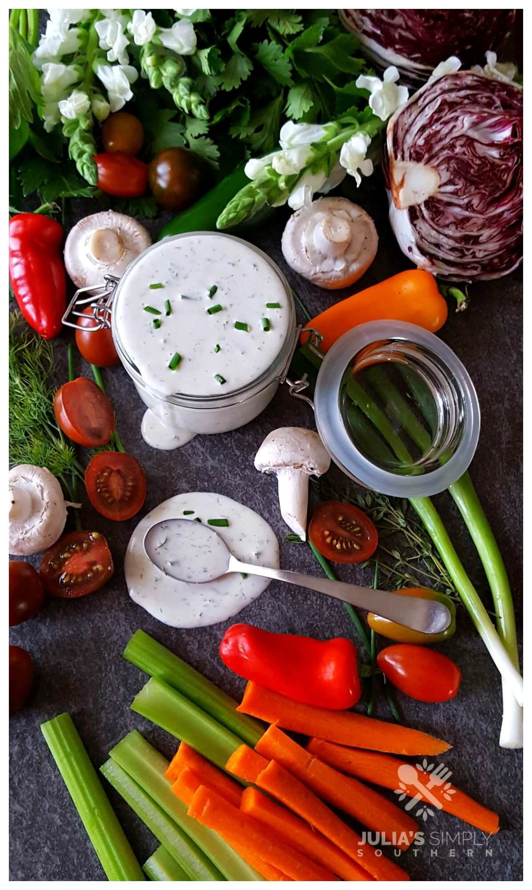 Best Ranch Dressing Recipe and fresh colorful vegetables