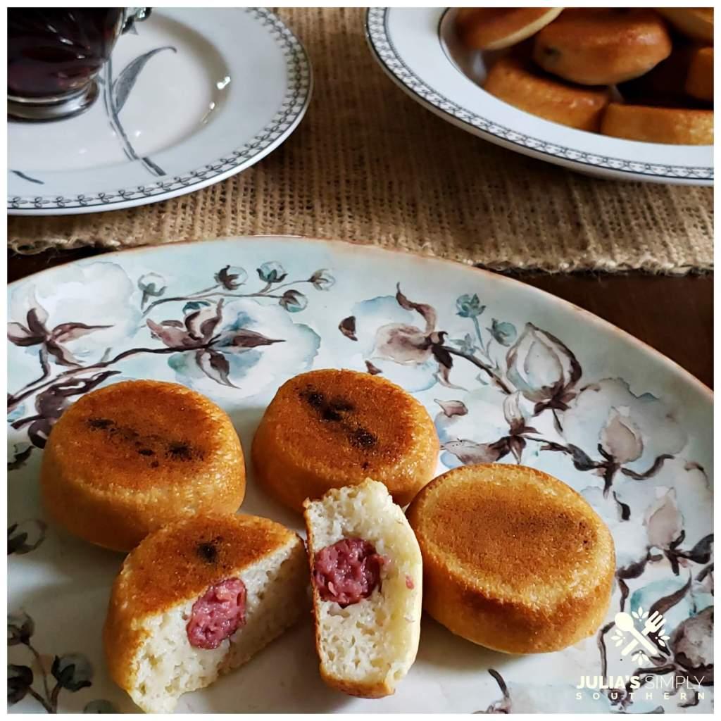 Beautiful plate with pancake piggies - breakfast pigs in a blanket recipe