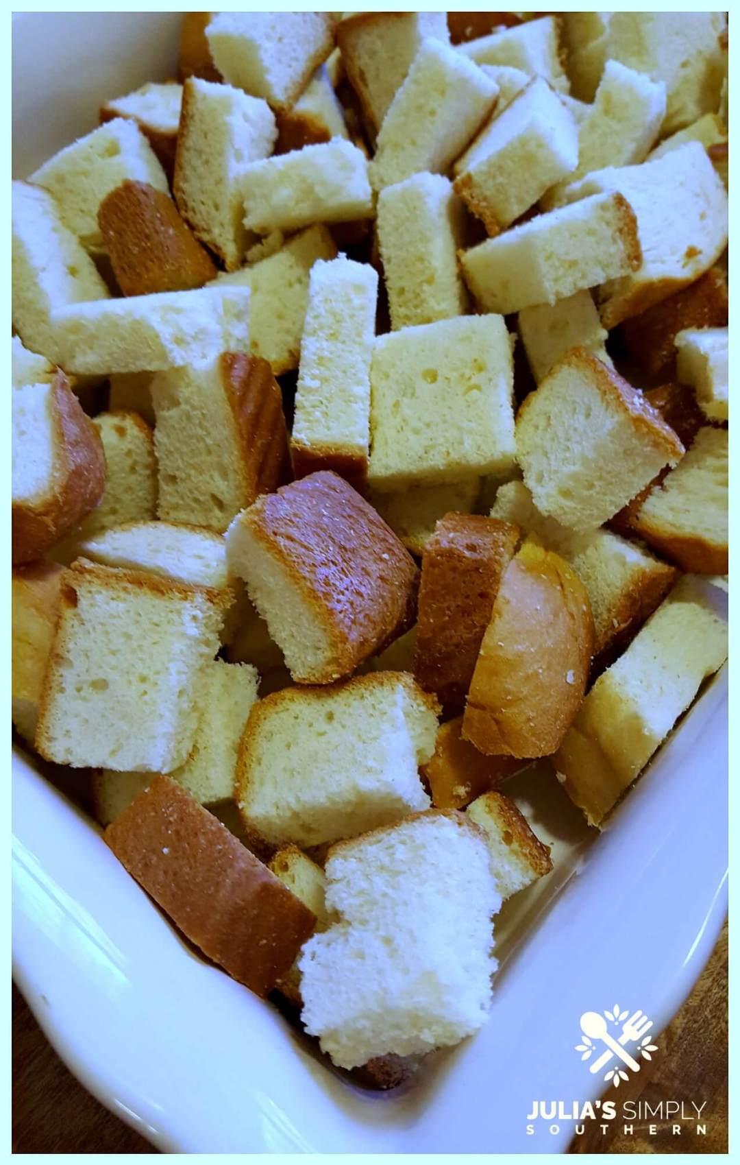 Brioche Bread cubes for a dessert
