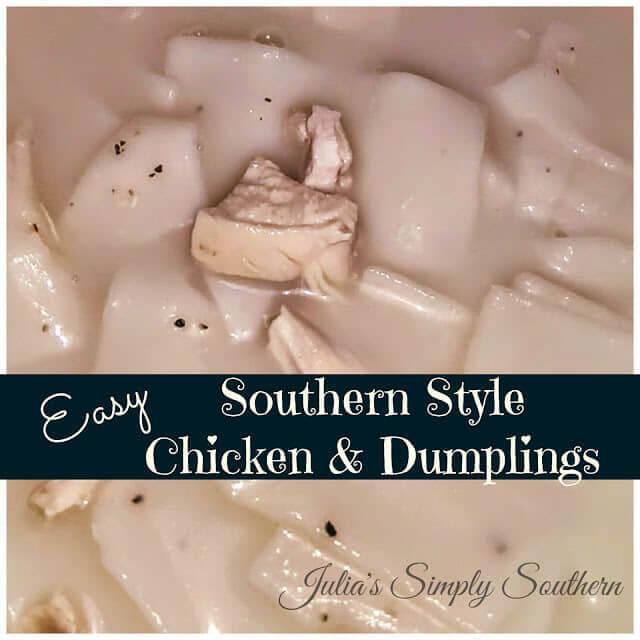 Chicken and dumplings comfort food in a bowl