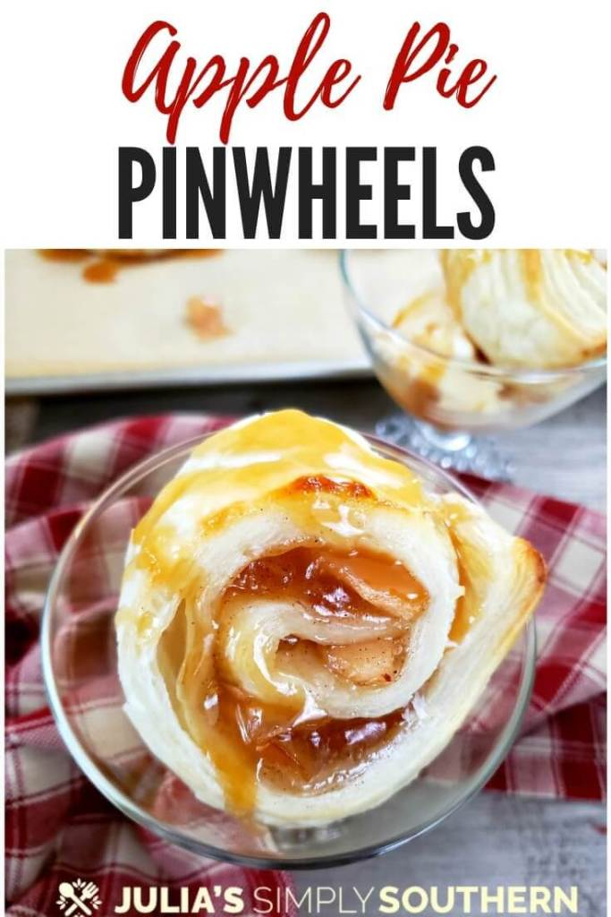How to make an easy apple dessert? The apple pie puff pastry pinwheels take just minutes to make and are delicious elegant dessert when served with a scoop of ice cream and topped with caramel sundae sauce. #desserts #dessertrecipes #applepiepinwheels #applepuffpastry #applepuffs #puffpastrydessert #fallappledessert #easydesserts #SouthernFood