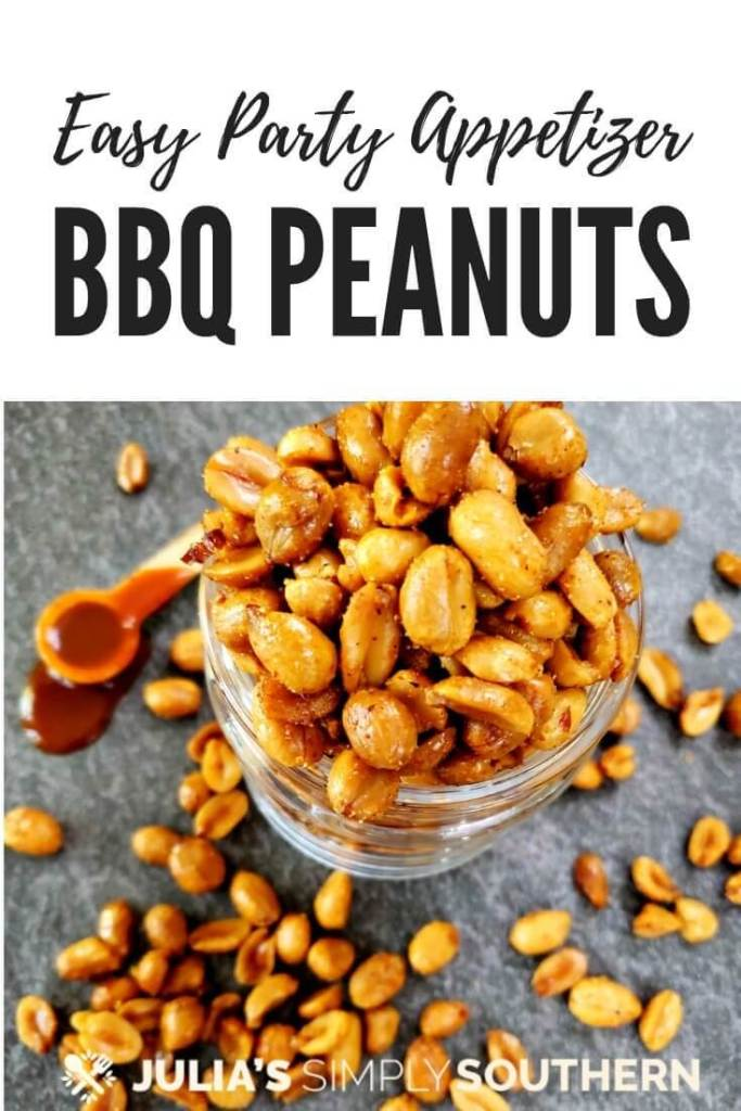 How to make BBQ peanuts for gatherings? Serve easy to prepare barbecue nuts at your next party. They're a delicious smoky, sweet and spicy appetizer that guests will enjoy. #appetizers #easyappetizers #partynuts #flavoredpeanuts