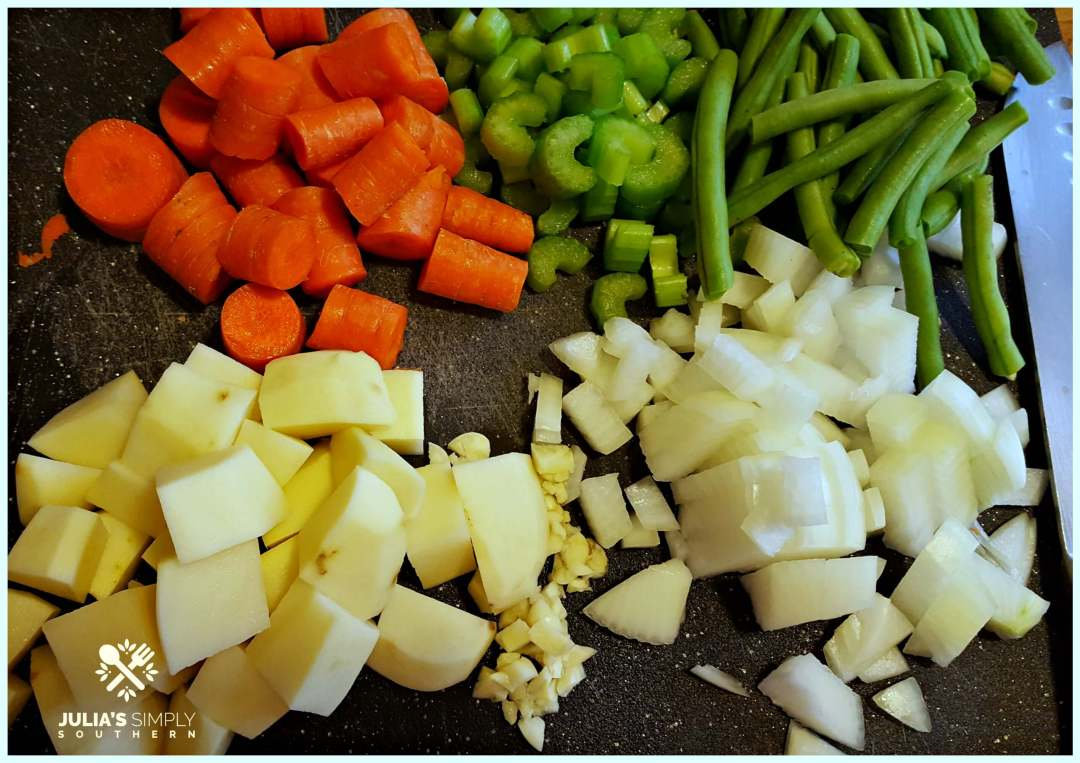 Chunky chopped vegetables for chicken mull