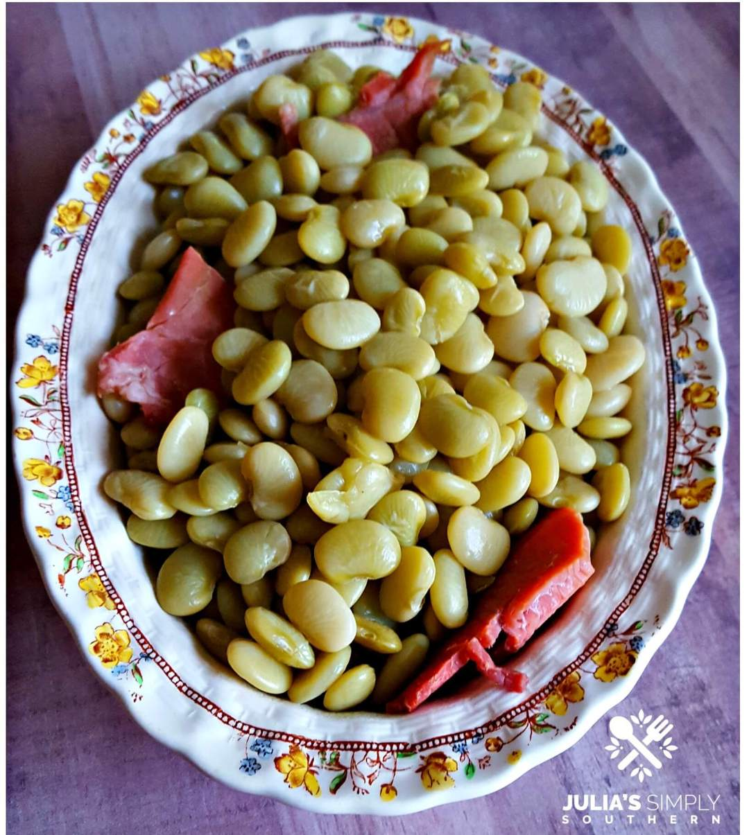 Delicious Southern Green Baby Lima Beans using fresh beans