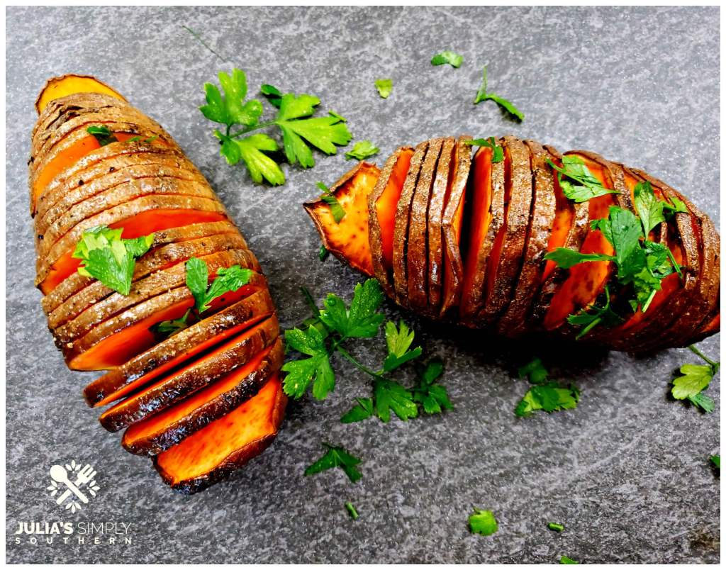 Baked Savory Hasselback Sweet Potatoes with butter and seasonings are such a nutritious side dish