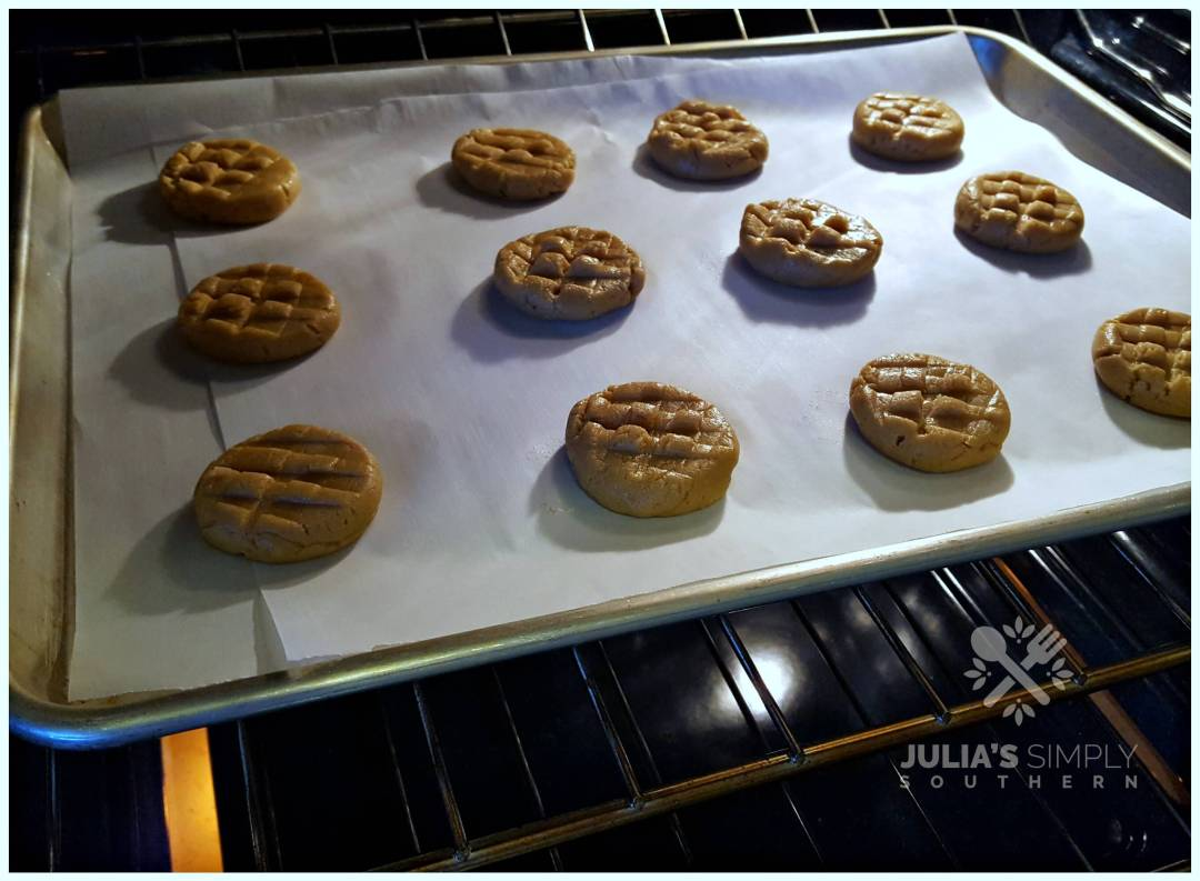 Old Fashioned chewy peanut butter cookies in the oven