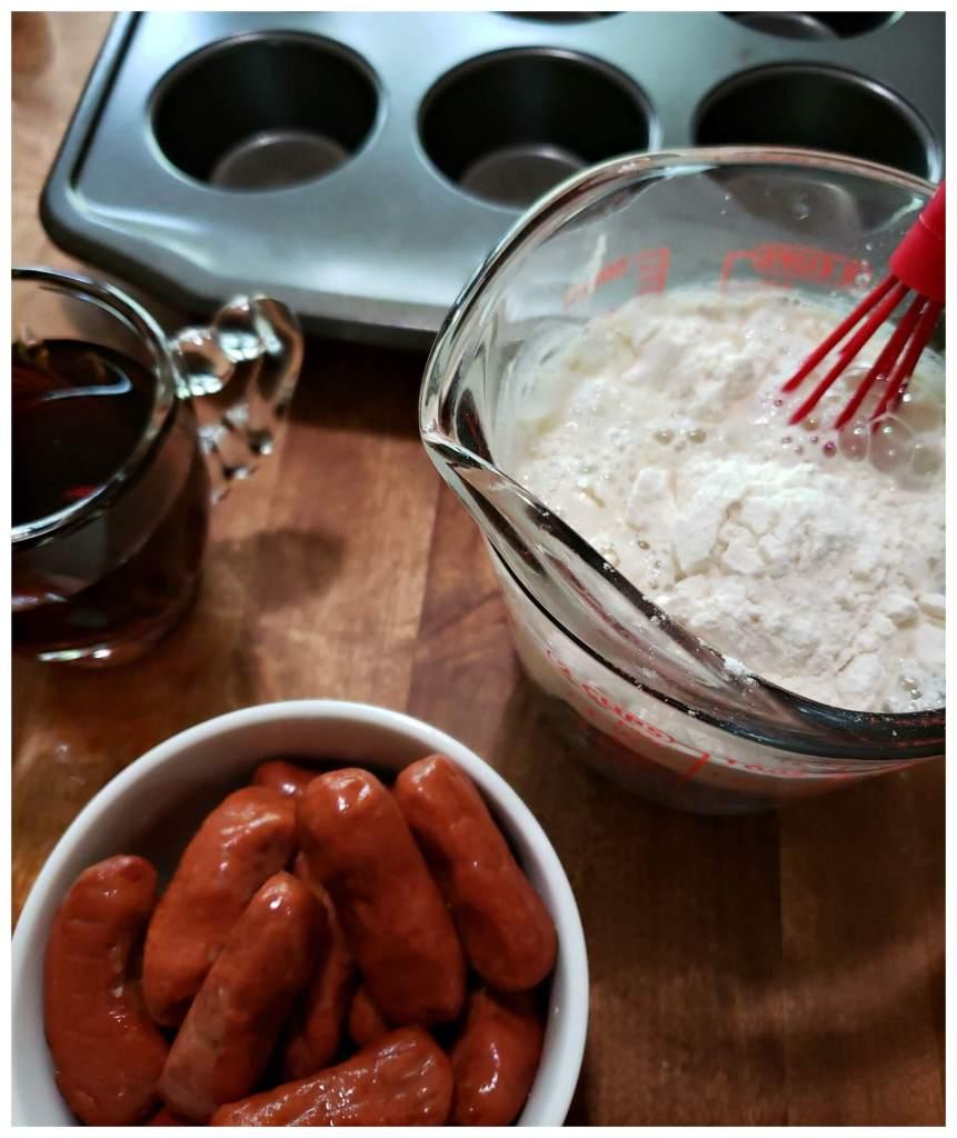 preparing pancake batter for breakfast piggies
