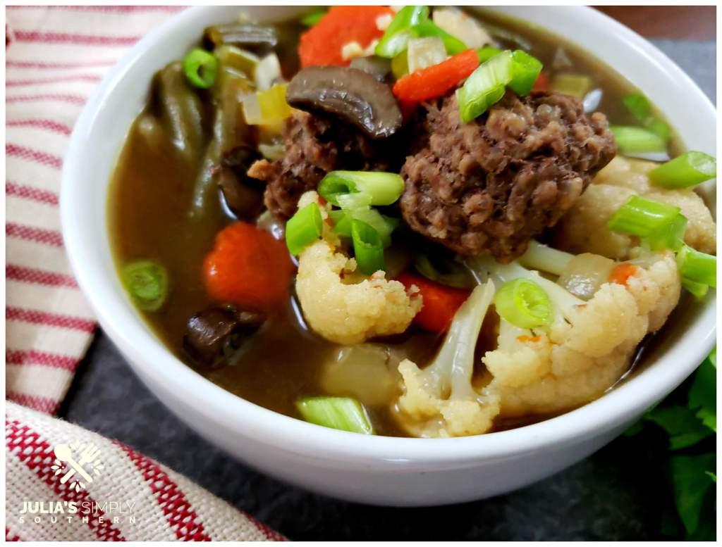 Rich nutritious hamburger soup without potatoes