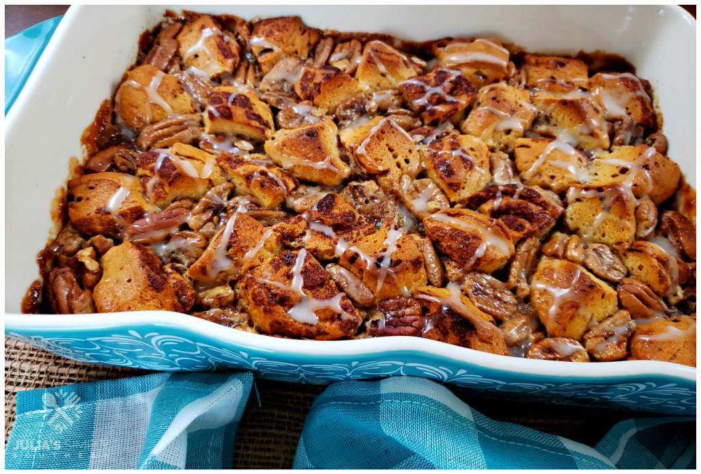 Casserole size dessert recipe - pecan pie bubble up with Karo Syrup