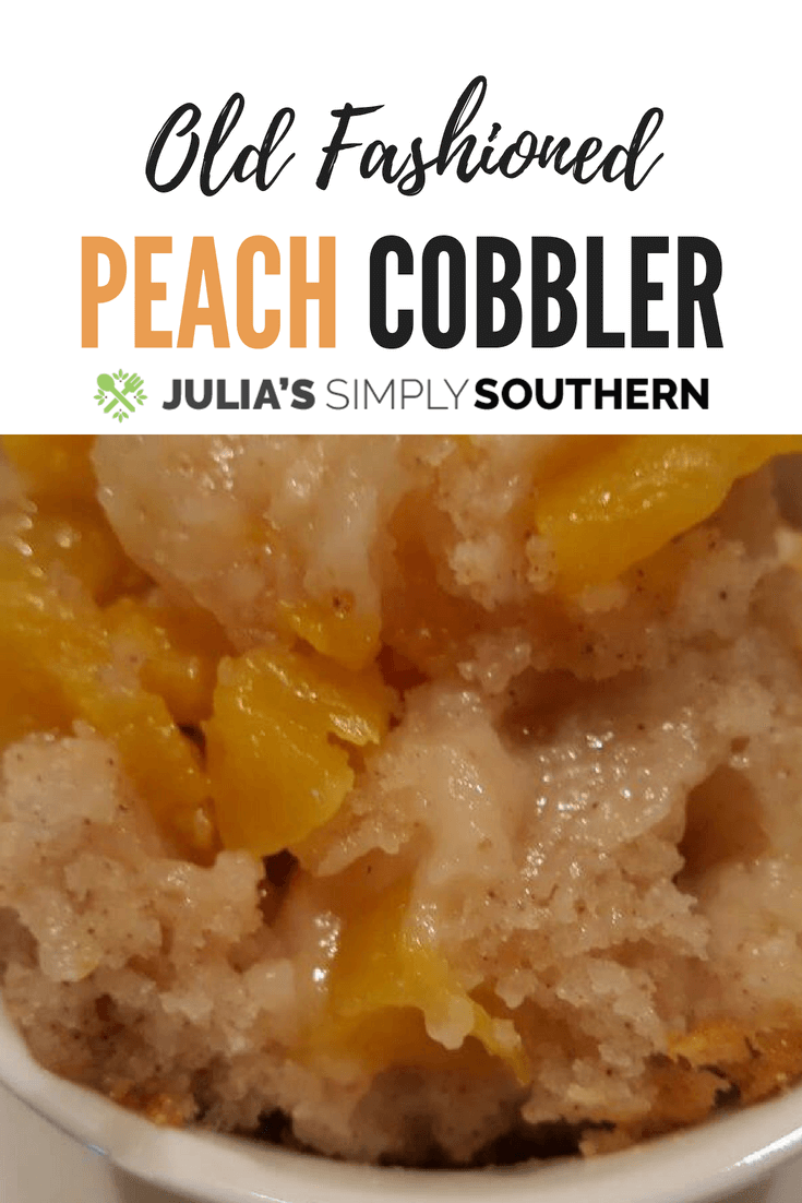 Classic old fashioned Southern peach cobbler dessert made with the freshest summer peaches #easyrecipe #dessert #baking | Julia's Simply Southern
