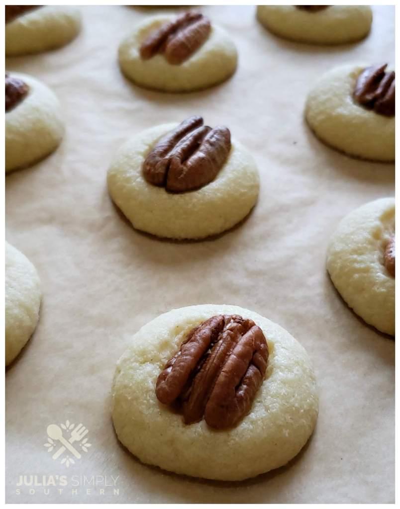 Sheet pan with pecan shortbread cookies