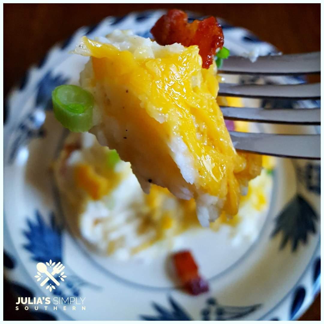 Perfect Bite of Twice Baked Potato Casserole - short cut with mashed potatoes