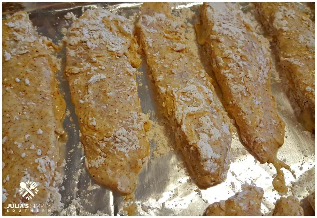 Breading chicken breast tenders for frying