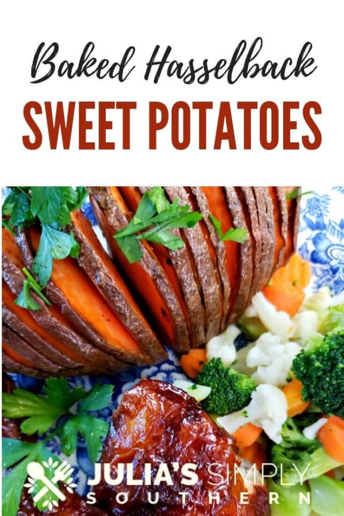 How to make baked Hasselback Sweet Potatoes? Oven roasted sweet potatoes prepared in the Hasselback style are easy to prepare. They can be served savory or sweet as a side dish to any meal, or as a meal itself. #vegetable #sweetpotatorecipes #sweetpotato #Hasselbackpotatoes #easyrecipe
