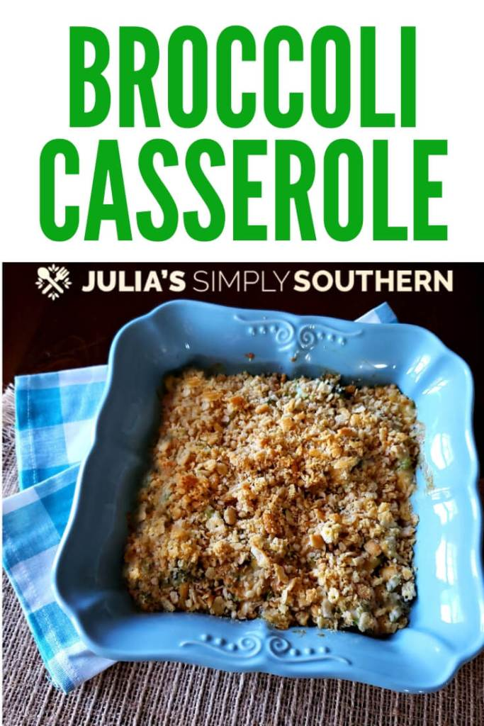 Recipe for Broccoli Casserole. This classic broccoli casserole side dish is creamy, cheesy and delicious with a buttery cracker topping. It's quick to prepare and a favorite side for family meals, Thanksgiving and Christmas. #BroccoliCasserole #broccolirecipes #easycasserole #sidedish #holidayrecipes