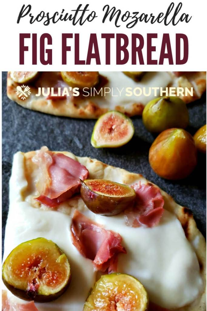 Are you searching for fig recipes? Make a delicious fresh fig pizza on flatbread with prosciutto and mozzarella for an amazing appetizer or delicious light dinner. #figs #freshfigrecipes #Naan #flatbread #pizza #ovenbaked #grilling