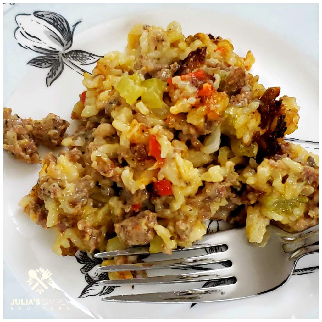 Plate of sausage and rice casserole, a Southern recipe