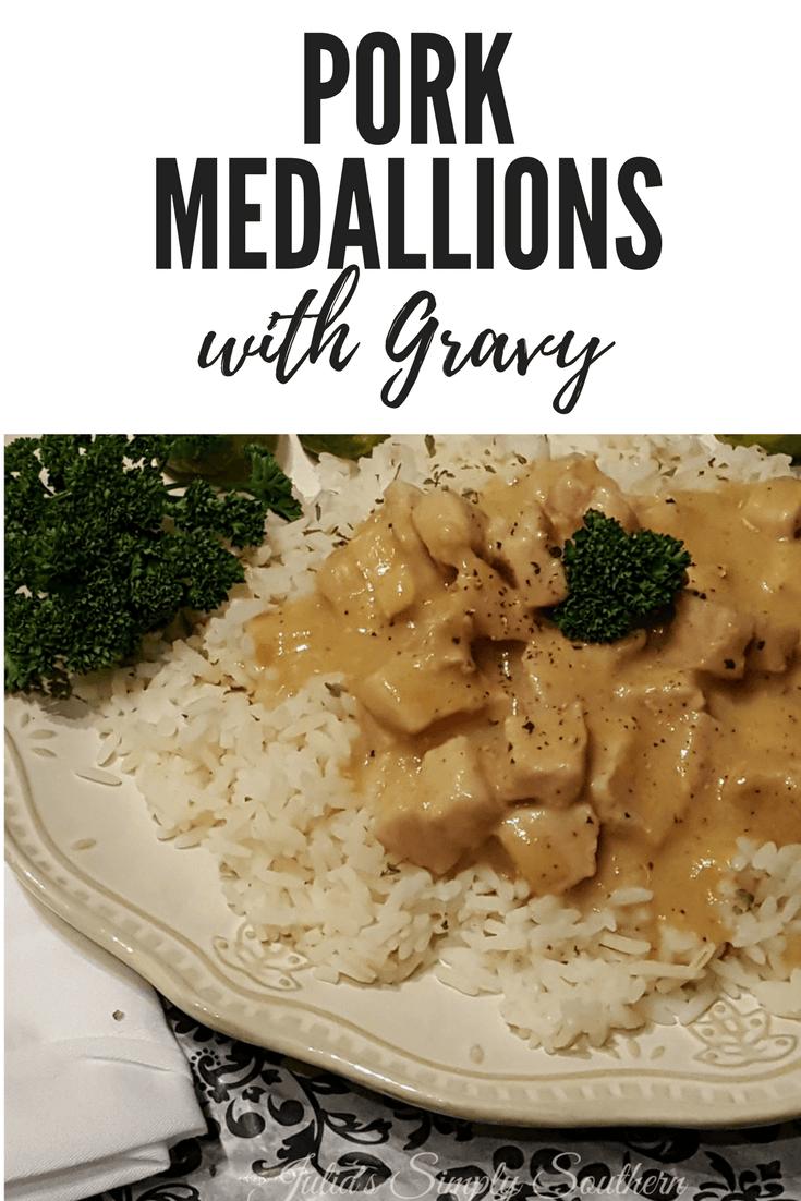Delicious bite size pork medallions in a gravy sauce served over rice #pork #recipe #delicious