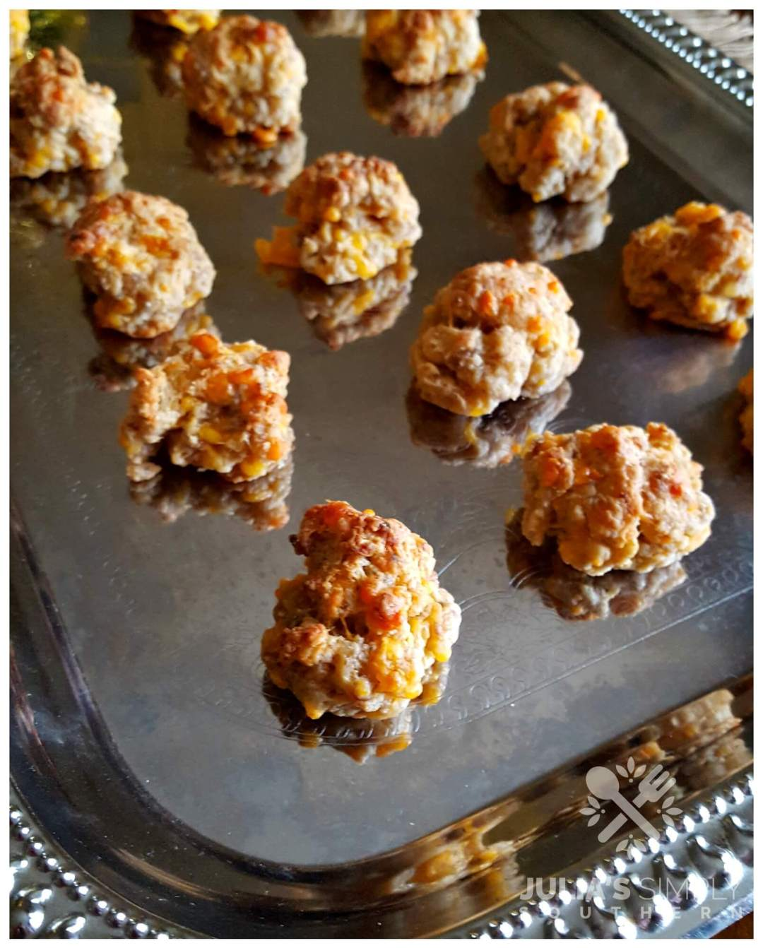Silver tray with sausage ball appetizers