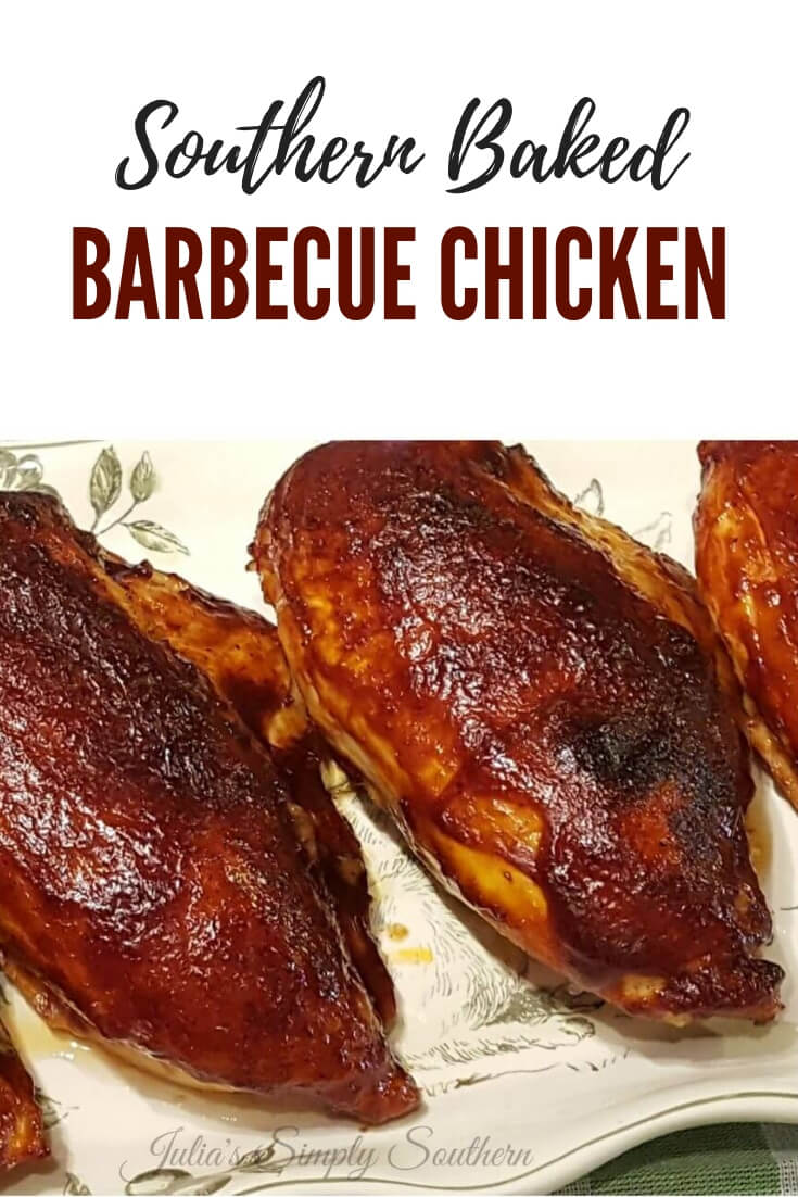 Southern Baked Barbecue Chicken Breast (Bone In Split Breast) with old fashioned barbecue sauce is a classic and delicious family meal #chickenrecipes #BBQ #EasyRecipe #FamilyDinner #kidfriendly