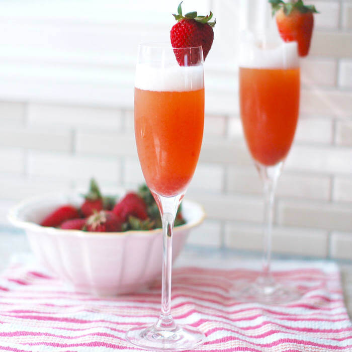 Strawberry Rhubarb Mimosa - brunch cocktails