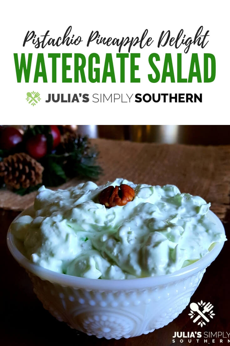 Watergate Salad - this classic side dish is always a favorite at gatherings. #GreenStuff #GreenGoddess #PistachioPineappleDelight #SideDish | Julia's Simply Southern