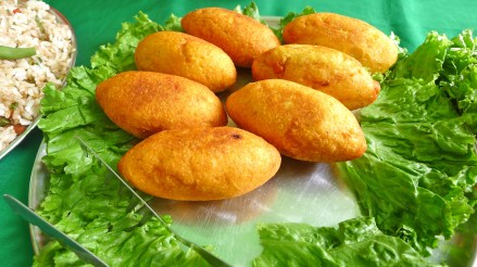 Meat stuffed potato croquettes © Mekhala Roy
