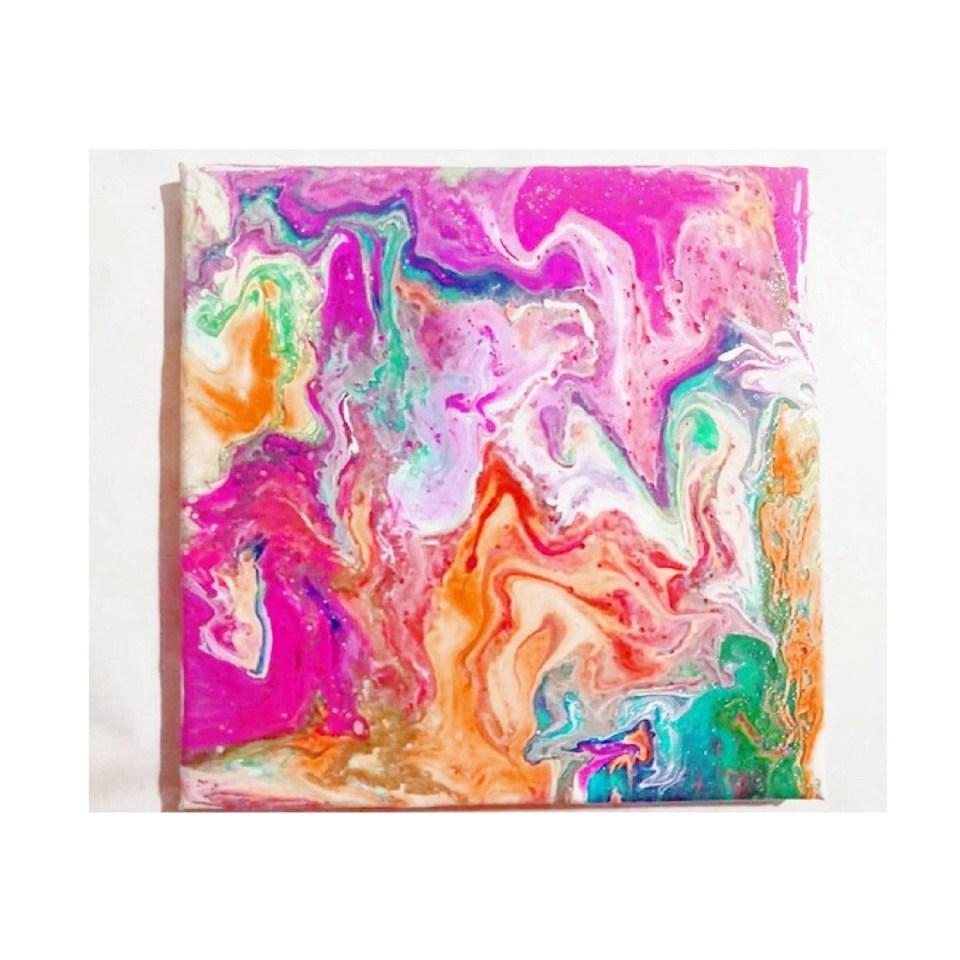 Fluid Painting, DIY fließende Acrylfarbe, Acrylbild für anfänger, wunderschöner Marmor effekt mit Acrylfarbe beginnerfriendly