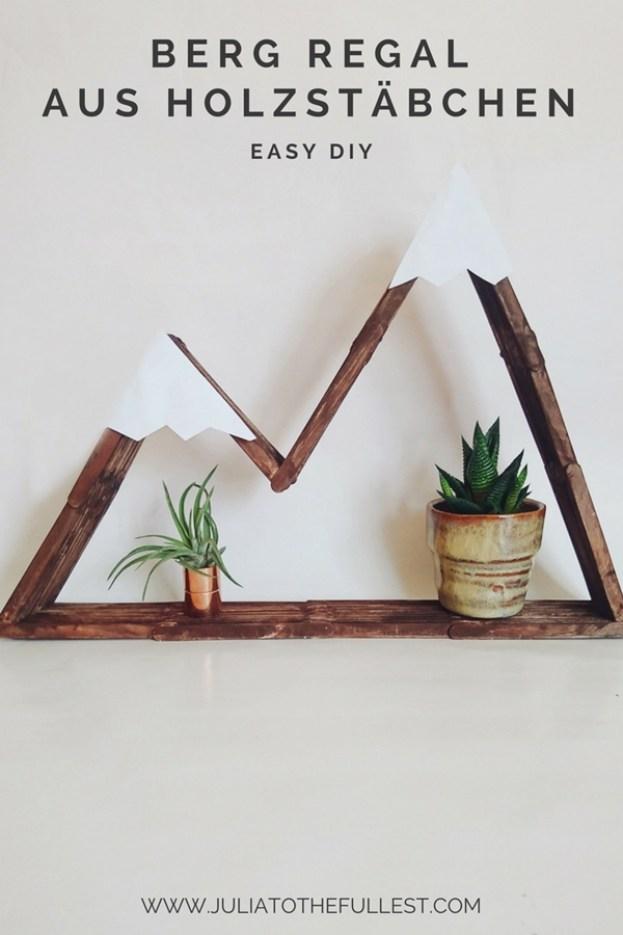 DIY Bergregal aus Holzstäbchen. Regal aus Eisstäbchen selber bauen. Mountain shelf popsicle sticks, regal selber bauem berg