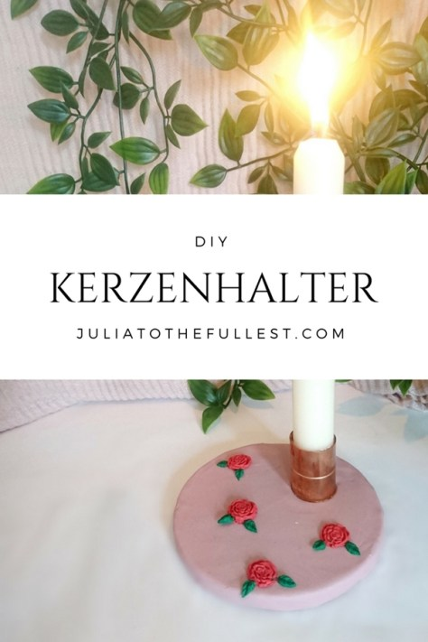 DIY Kerzenhalter mit Kupfer Muffe und modelliermasse zb fimo zum selber basteln perfekt für diy herbstdeko oder muttertagsgeschenk und geschenk für beste freundin als herbstliche deko