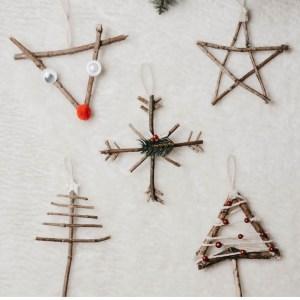 DIY Baumschmuck aus Naturmaterialien, basteln mit Kindern für Weihnachten, Baumschmuck selber machen mit Kindern, Ökoligischer Christbaumschmuch, Nachhaltigen Christbaumsschuck selber machen