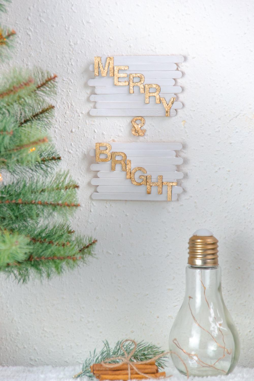 DIY Basteln Mit Eisstäbchen. Basteln Mit Holzstäbchen Und Blattgold Für  Weihnachten. Weihnachtsdeko Basteln DIY