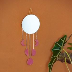 DIY - Do it yourself Mond spiegel - Mondgirlande an Spiegel, Spiegel Wandbehang mit Monden, Modernes DIY Home Wandbegang, DIY Spiegel Mond