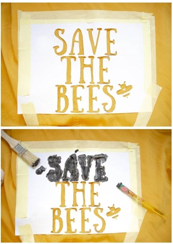 skalpell vorlage save the bees für diy druck