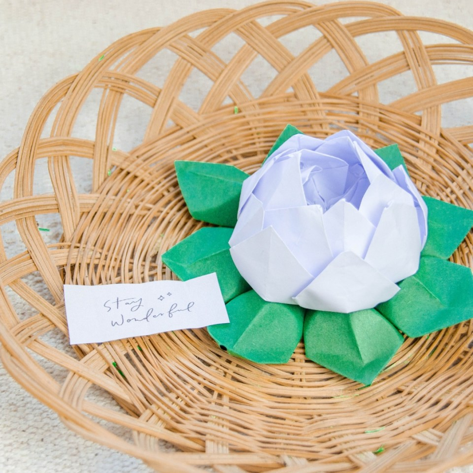 origami lotusblüte - einfache origami falt anleitung blume