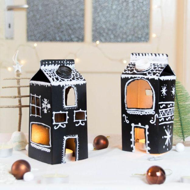 skandinvaische Weihnachtsdeko basteln Weihnachtsdeko aus Milchtüten basteln
