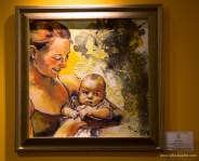 oil, mixed media, framed / 40 x 40 cm