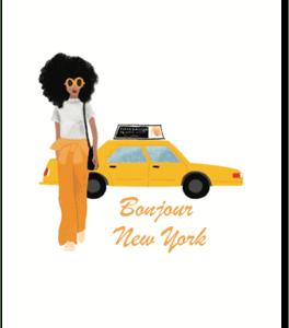 carte postale new york taxi jaune