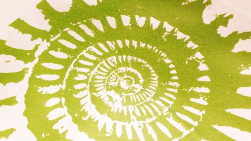 ammonite green and silver