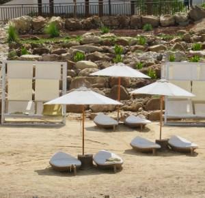 unique soft white sand beach at the dead sea hilton