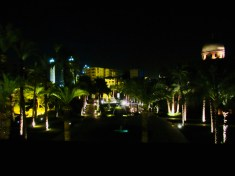 night view over the front of the hotel