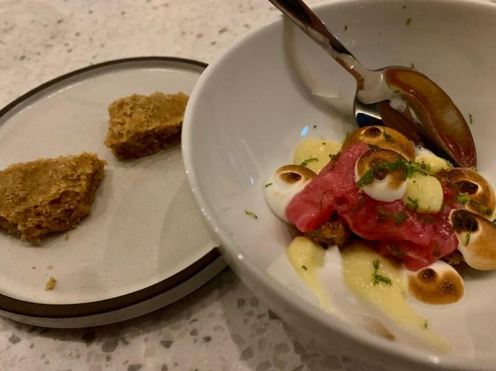 the final dessert, meyer lemon, rhubarb, meringue