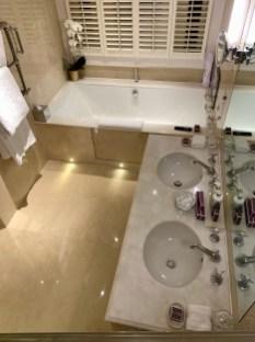a striking marble bathroom
