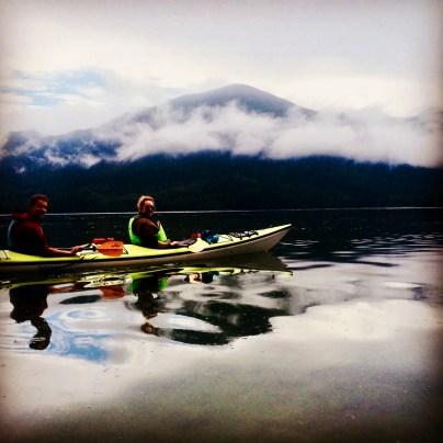 Jack & I kayaking while staying at Tofino Resort & Marina