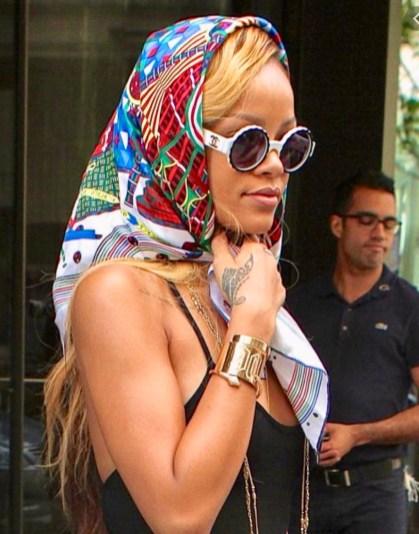 Rihanna in a Hermès scarf