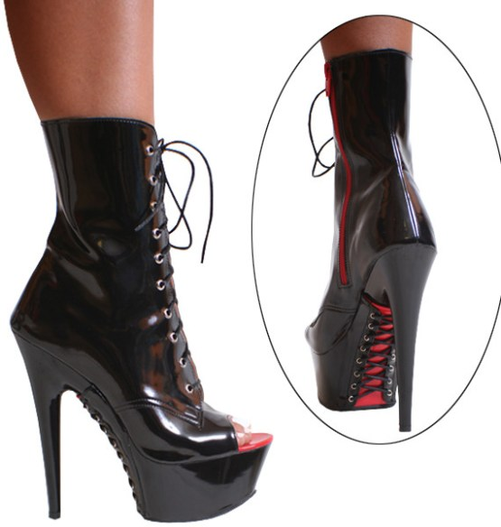 Karo Black Patent with Red Zipper Lace up 6 inch heels 3363
