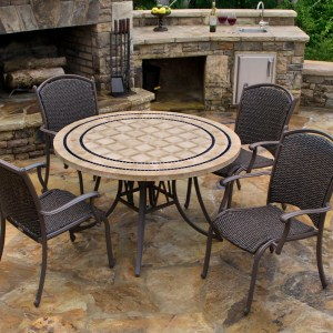 """Tortuga Marquesas 5 Piece Dining Set 4 arm chairs, 48"""" stone table MQS-5PC"""