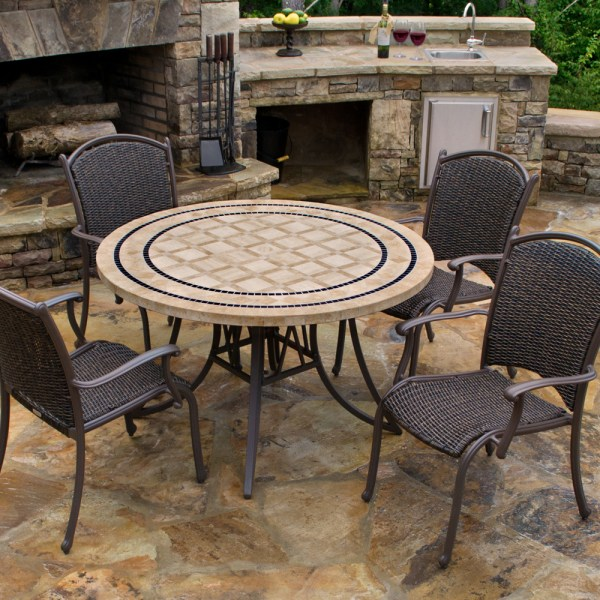 "Tortuga Marquesas 5 Piece Dining Set 4 arm chairs, 48"" stone table MQS-5PC"